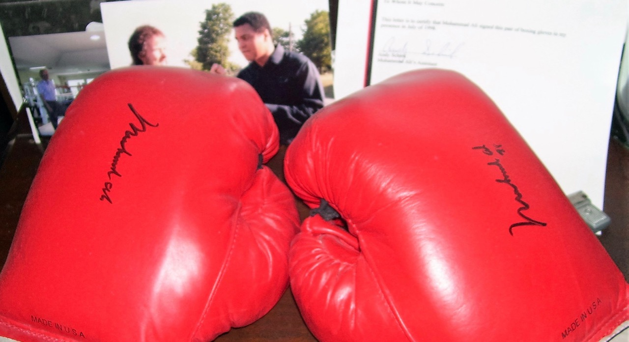 Autographed boxing gloves come with the RV