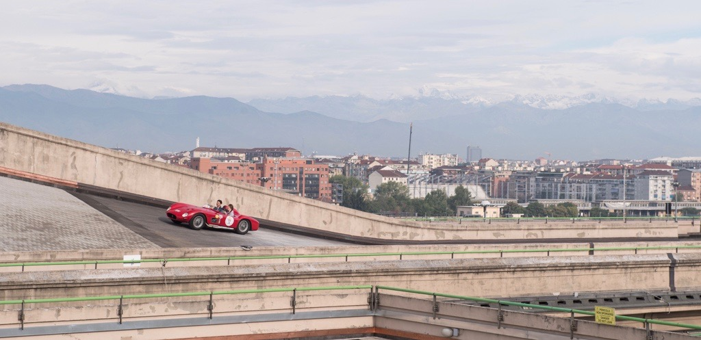 A Maserati makes a lap on the roof-top test track at the Lingotto in Torino, Italy | Dirk de Jager photos