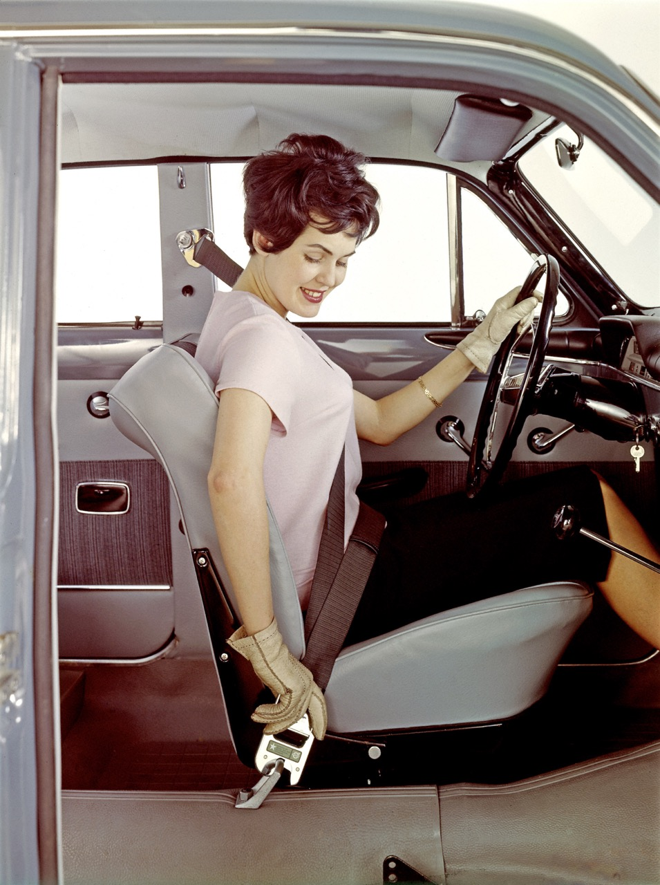 Amazon was first car with standard three-point belts