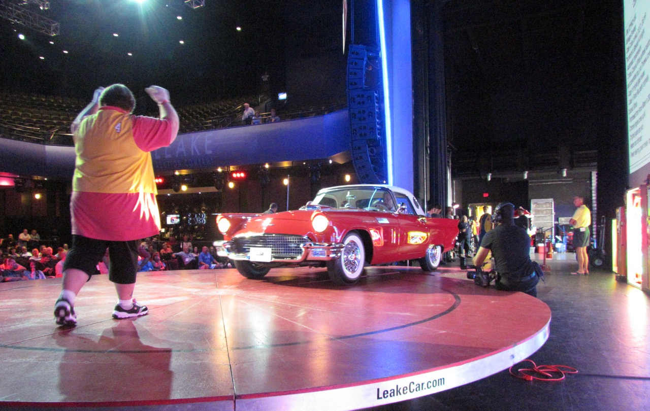 A 1957 Ford Thunderbird is directed onto the turntable in the Sound Board at the Motor City casino hotel | Larry Edsall photos