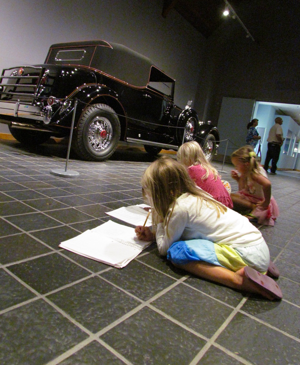 Children draw images of the 1934 Packard 1107 Twelve Convertible Victoria | Larry Edsall photos
