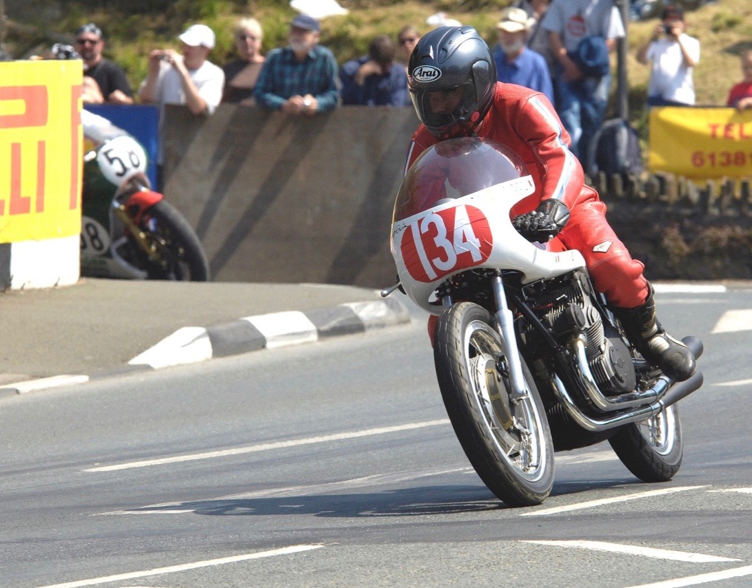Robert White racing one of his motorcycles