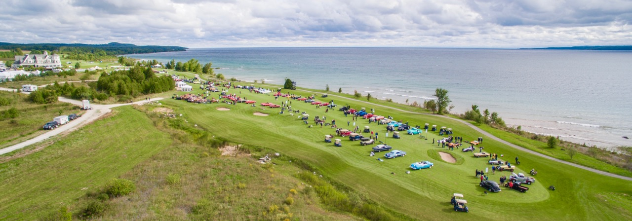 Overhead view of the concours show field