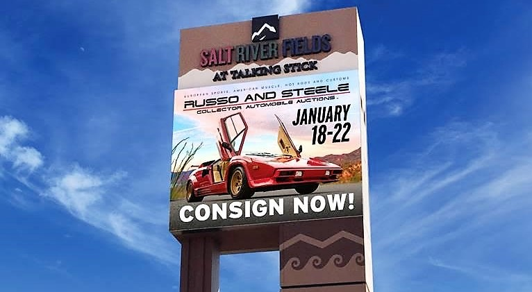 The marquee at Salt River Fields at Talking Stick promotes the Russo and Steels auction | Russo and Steele photos