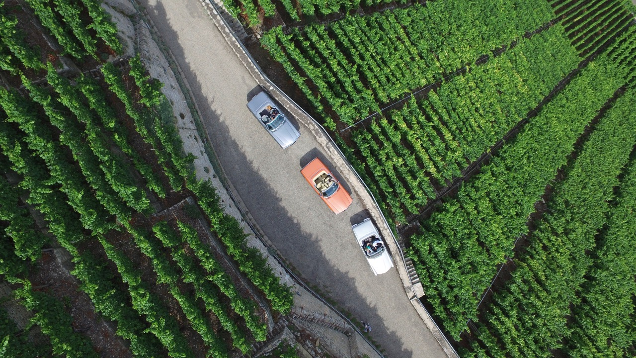 Overhead view of cars and scenery