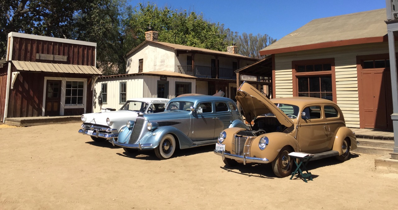 A classic Nash and a brace of Fords visited the Paramount Ranch, a movie set and sometime race course | Photos by Larry Crane