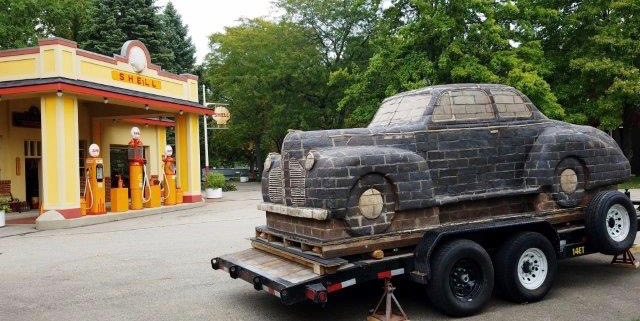 'Mom's Favorite Car' arrives on trailer at Gilmore museum's vintage Shell station | Gilmore photos