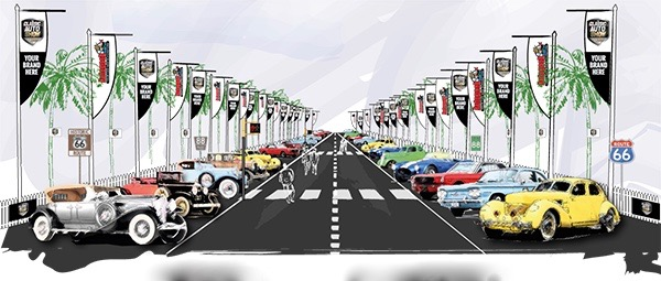 Artist's rendering of The Grand Boulevard display area at The Classic Car Show in LA | Urban Expositions photos
