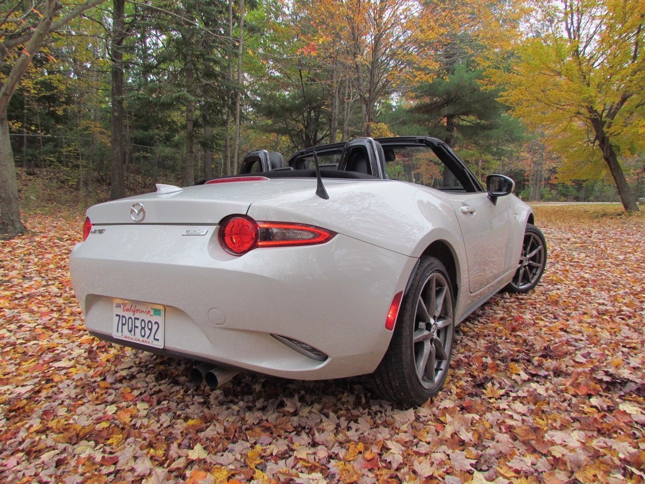 Miata's Ceramic-colored paint looks good against fallen autumn leaves