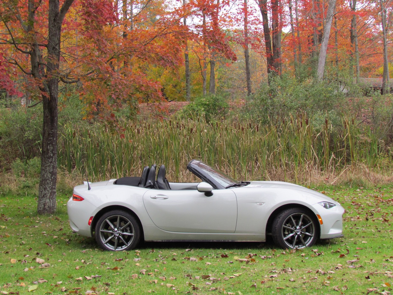Miata in profile; top down, of course