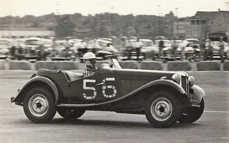 John Fitch racing an MGTD in June 1950 at the Linden, New Jersey, airport | International Motor Racing Research Center photos