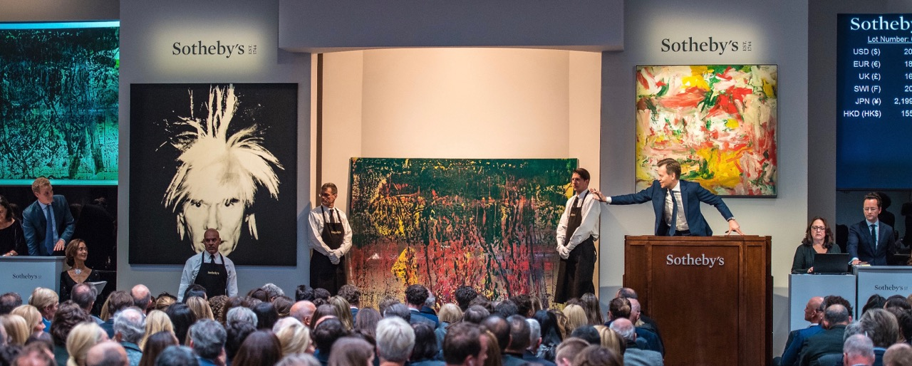 The scene at Sotheby's recent Modernist art auction | Sotheby's photos
