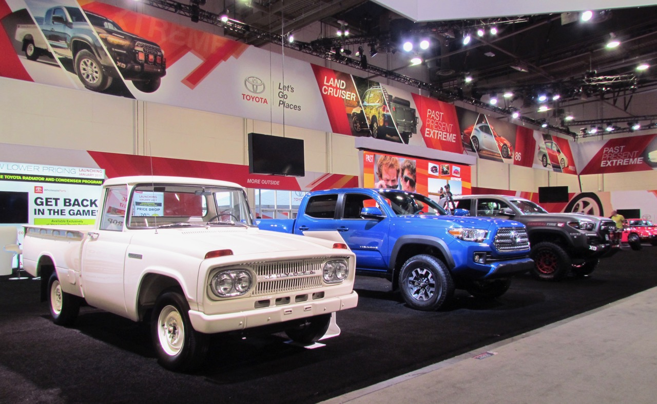 A trio of trucks on Toyota's SEMA stand under the theme of Past, Present, Extreme | Larry Edsall photos