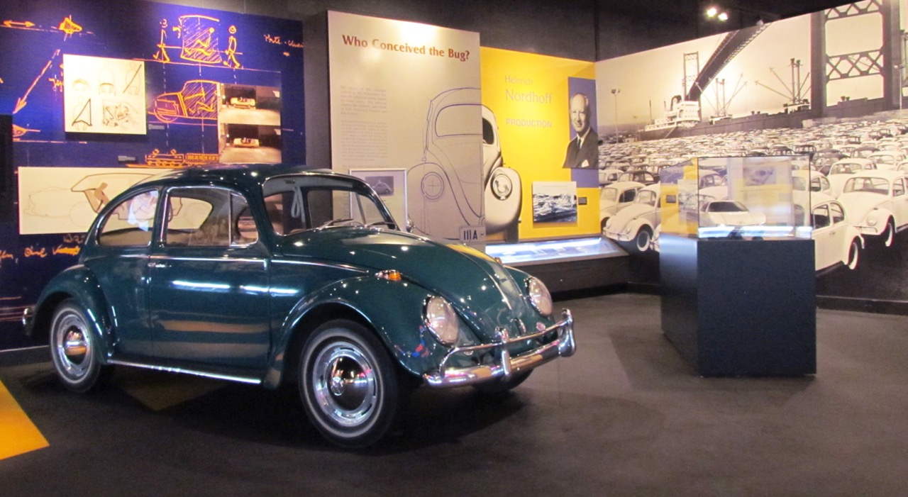 Volkswagen Beetle exhibit at Automotive Hall of Fame
