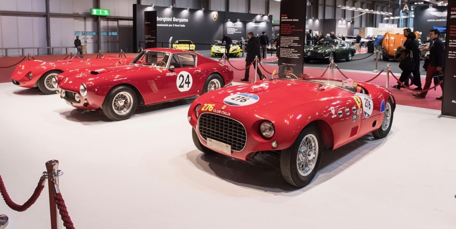 Ferrari 250MM Barchetta among cars on classic dealership stand | Dirk de Jager photos