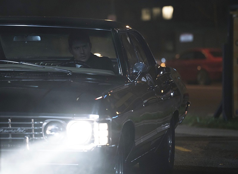 Jensen Ackles as Dean driving the Supernatural Impala | The CW photo by Katie Yu