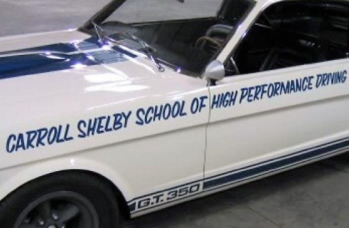 An amazing Carroll Shelby relic, a 1965 Shelby Mustang GT350 used in his driving school, for sale with a seven-figure price tag