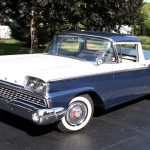 The Ford Ranchero was repainted in its blue-and-white factory colors