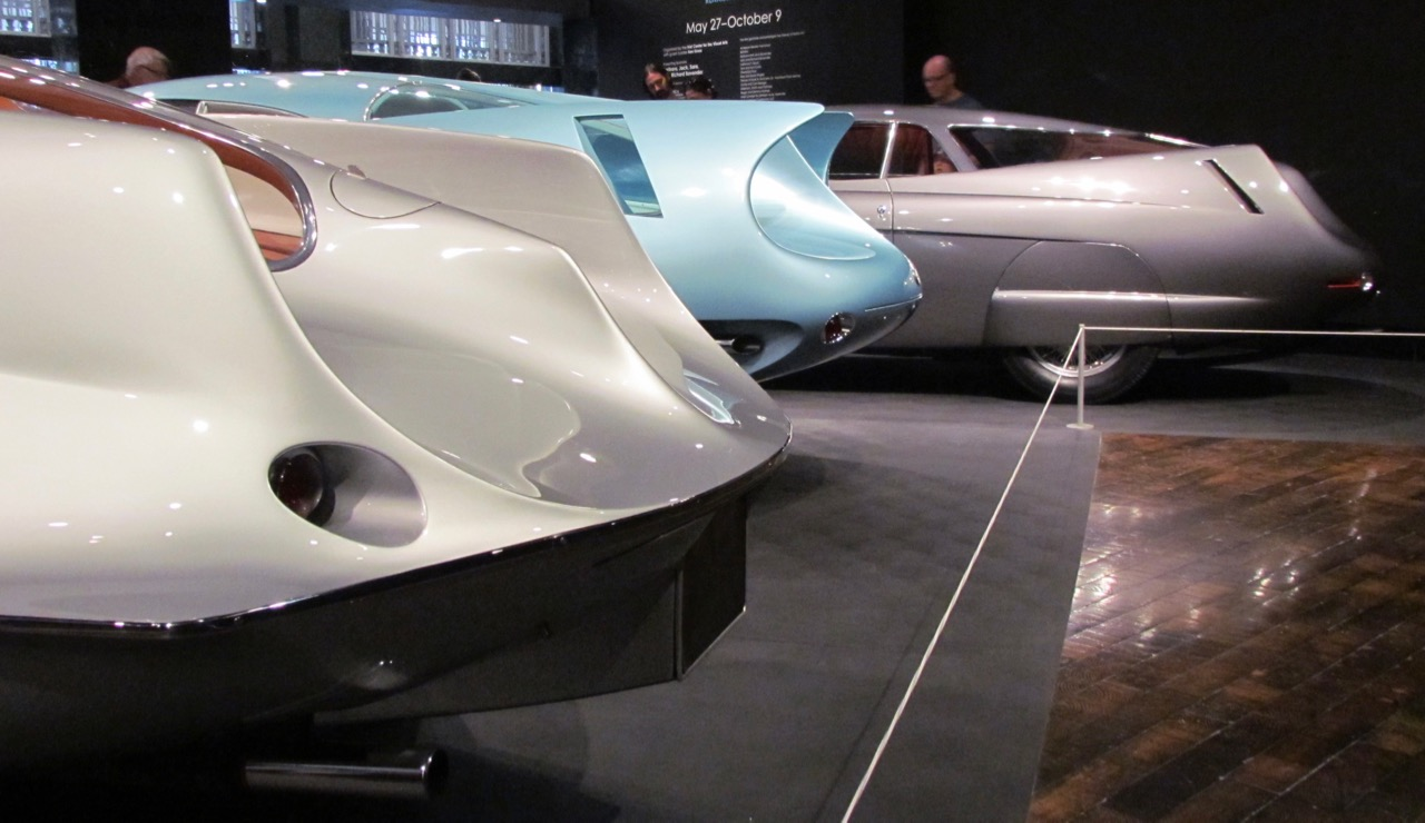 Sculptural curves grace the tail fins of the Alfa Romeo 'BAT' cars at the Frist museum in Nashville | Larry Edsall photo