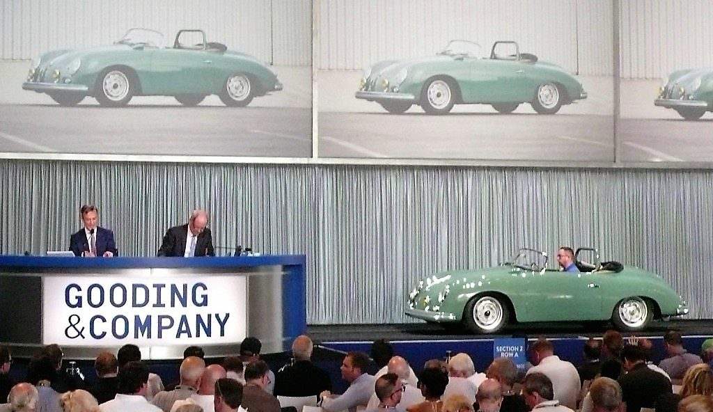 The 1958 Porsche 356 A GS/GT Carrera Speedster crosses the Gooding stage