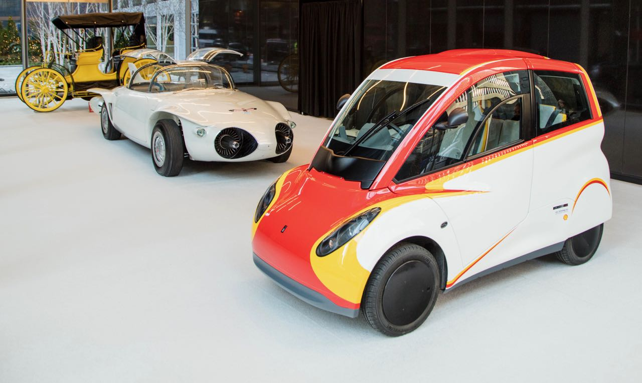 Shell concept (right) recently was displayed with former visions of the automotive future | HVA photo