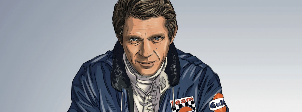 Artist said Steve McQueen appeared in a dream, suggesting graphic novel based on 'Le Mans' movie | Garbo Studio illustrations