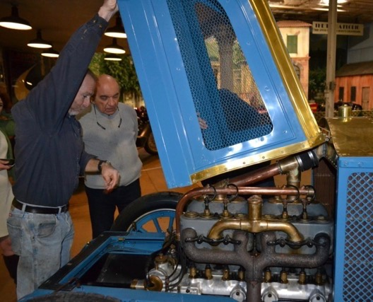 Fred Simeone (right) gets a look at the Renault engine