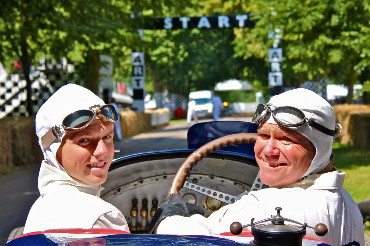 With Grant at Goodwood in the Peugeot