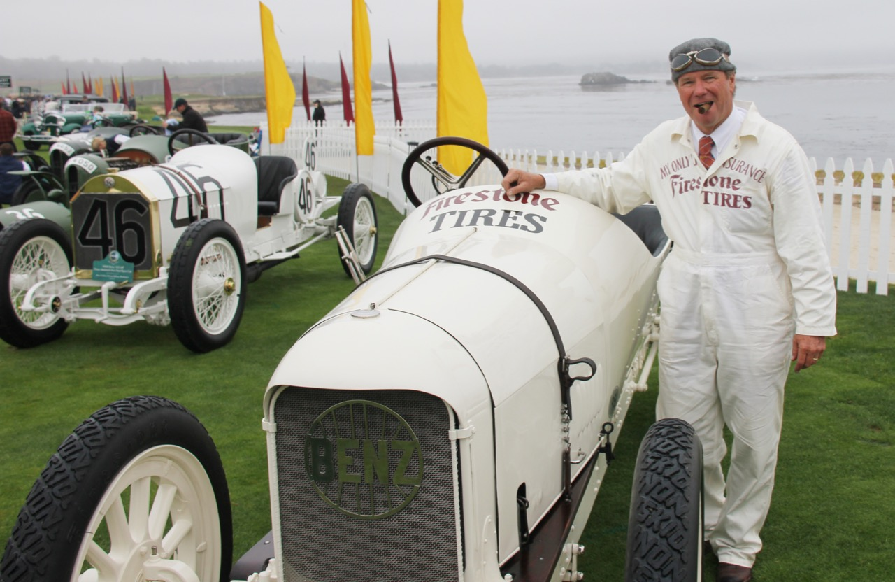 Rick Rawlins with the Barney Oldfield-liveried 1909 Benz at Pebble Beach