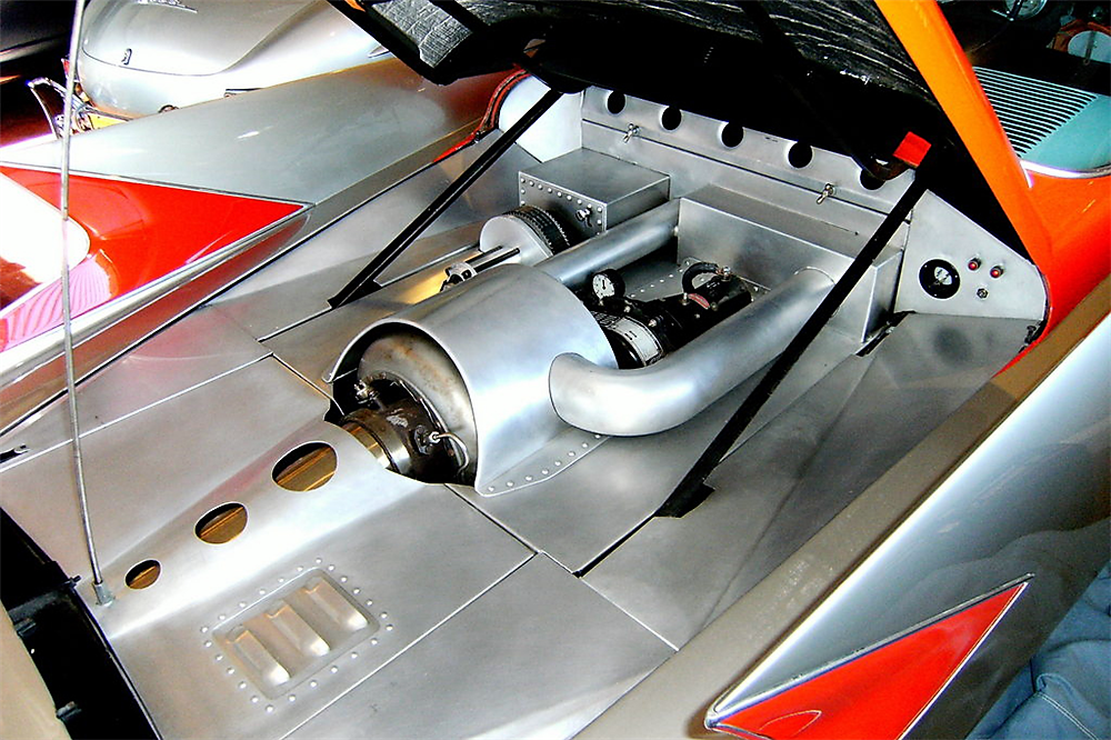 The turbine engine is located in the rear