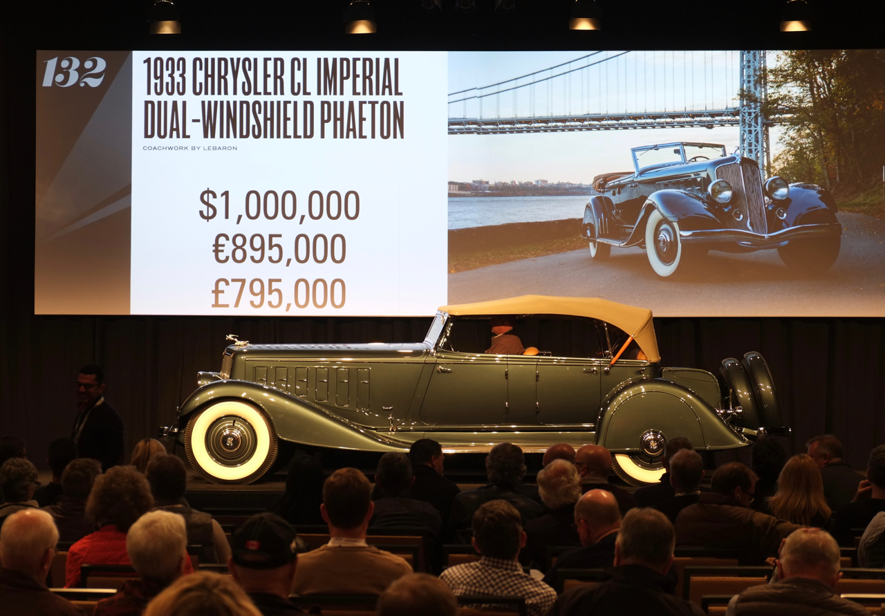 A million-dollar bid wasn't enough for this 1933 Chrysler CL Imperial to change owners at RM Sotheby's sale