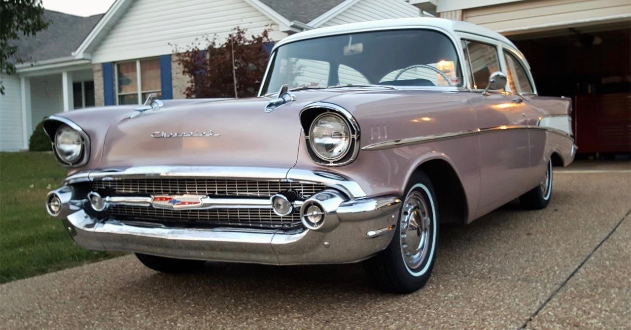 1957 Chevrolet 210 in Dusk Pearl with white top