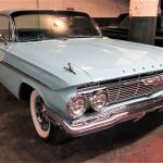 The Chevrolet Impala SS hardtop in Seamist Turquoise is said to be faithfully restored