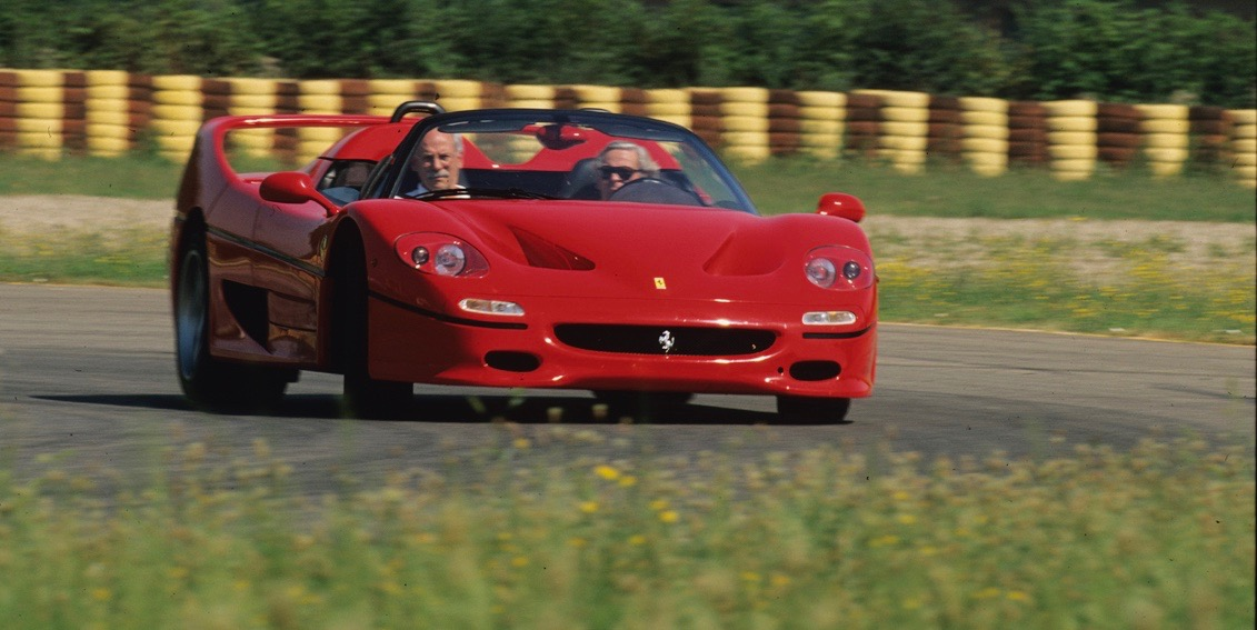 Larry Crane rides as Paul Frere masters the Ferrari F50 at the Fiorano circuit