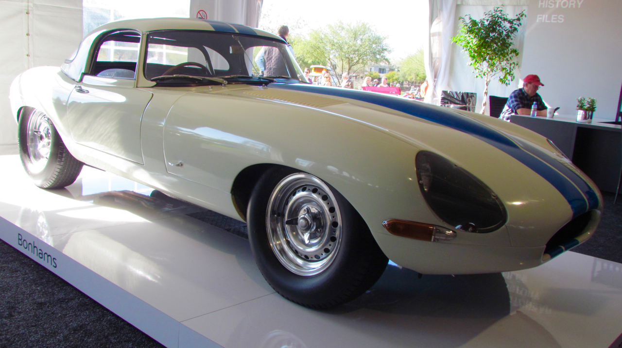 1963 Jaguar E-type sold at Bonhams tops the charts for Arizona Car Week 2017 | Larry Edsall photo