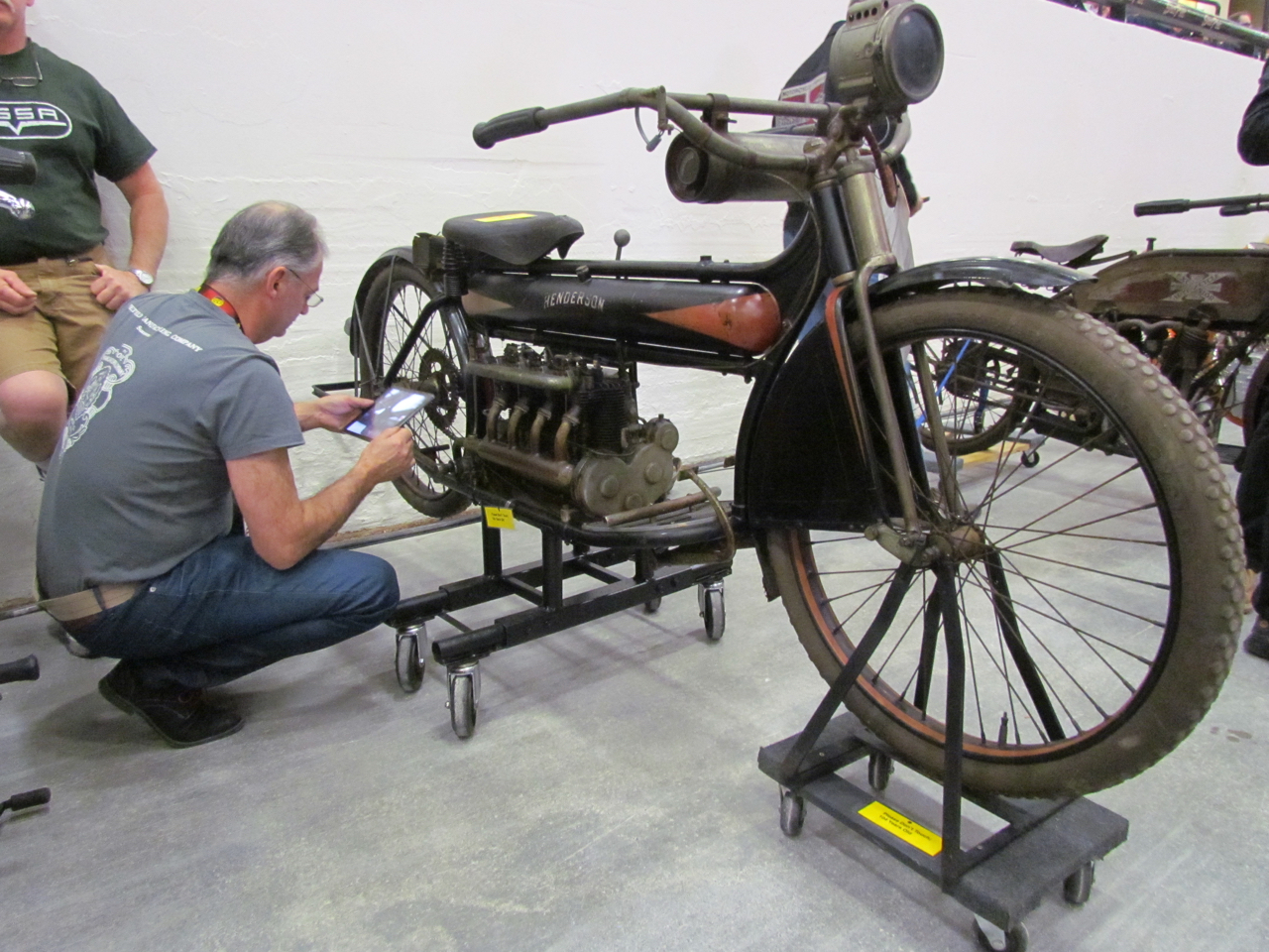 This man used a tablet computer to carefully film every inch of the 1912 Henderson Four | Larry Edsall photos