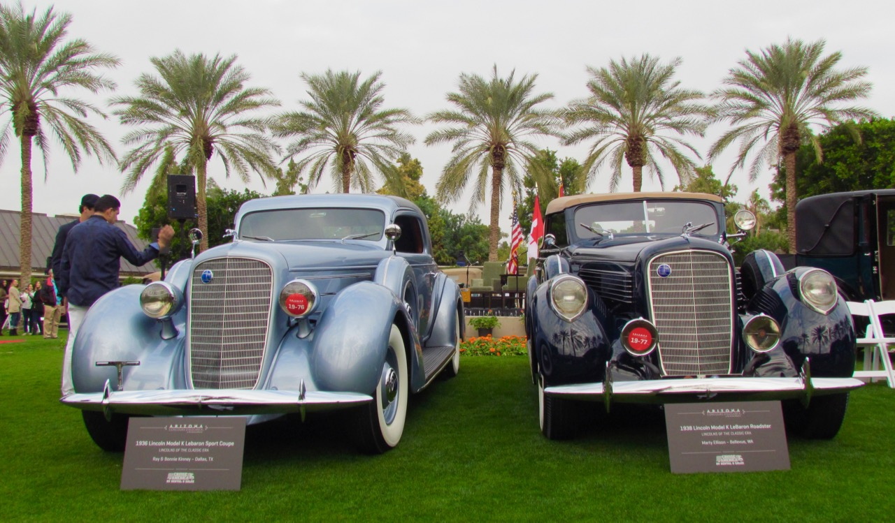 Two of the cars in the Lincolns of the Classic Era class at the Arizona Concours d'Elegance | Larry Edsall photos
