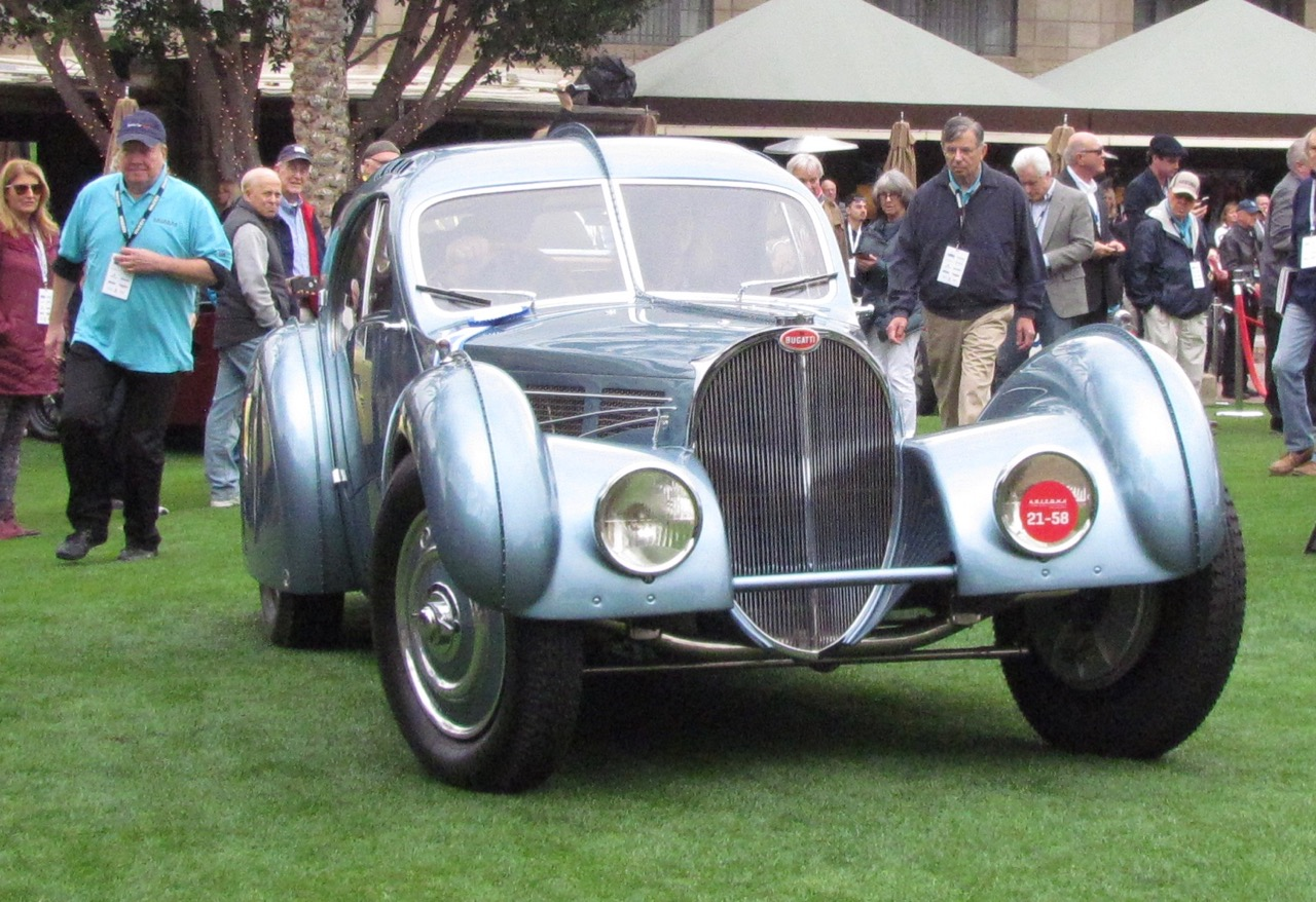 After winning its class, the Bugatti heads toward second judging