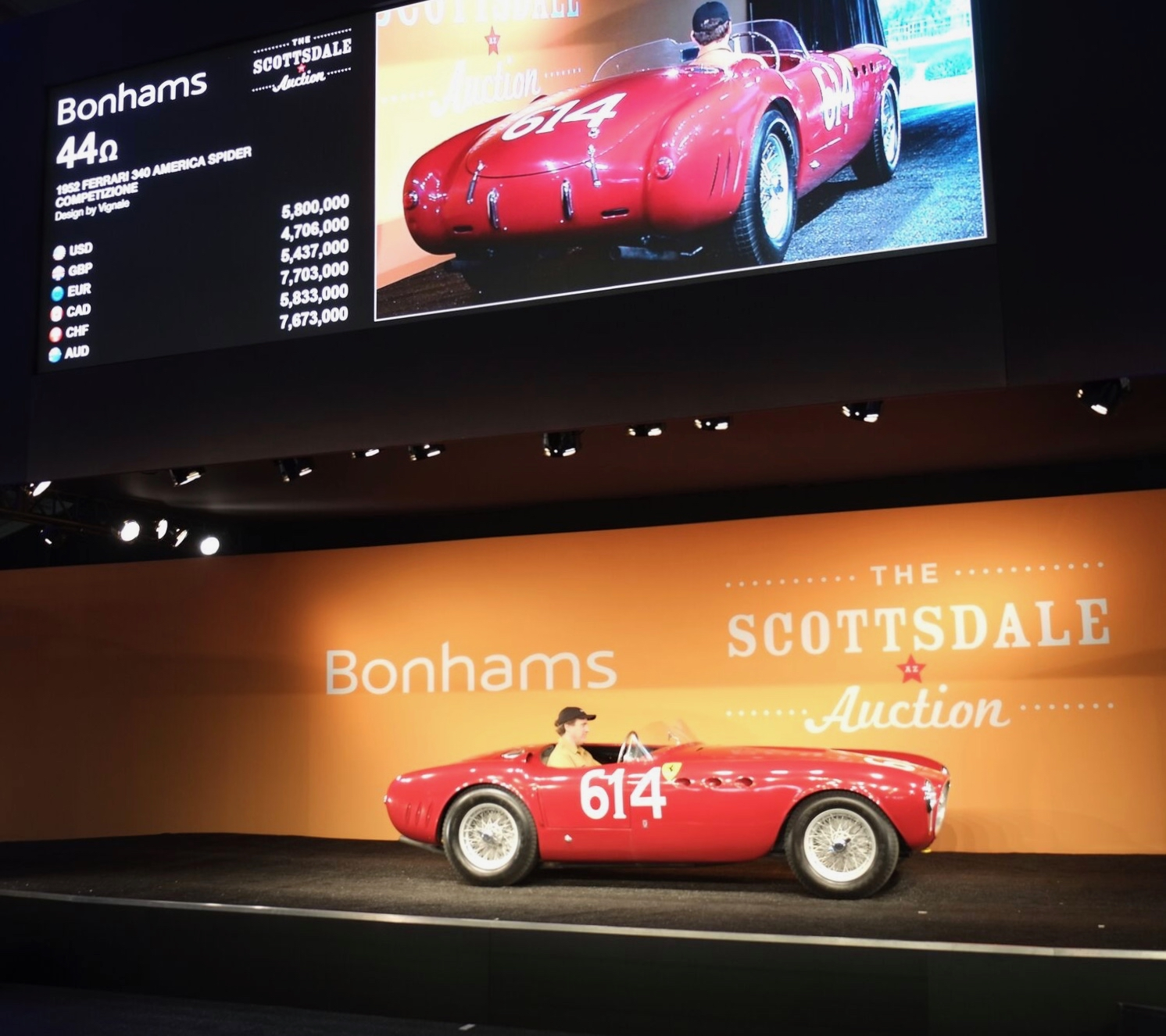 1952 Ferrari 340 America Competizione Spider sells for $6.38 million at Bonhams, which more than doubled its 2016 sales total Thursday | Andy Reid photos