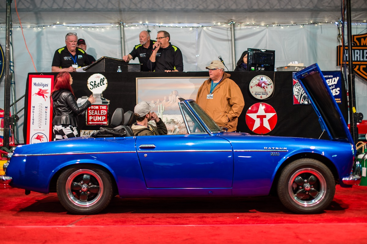 Datsun roadster on the bidding block at Silver Auctions | Nicole James photo