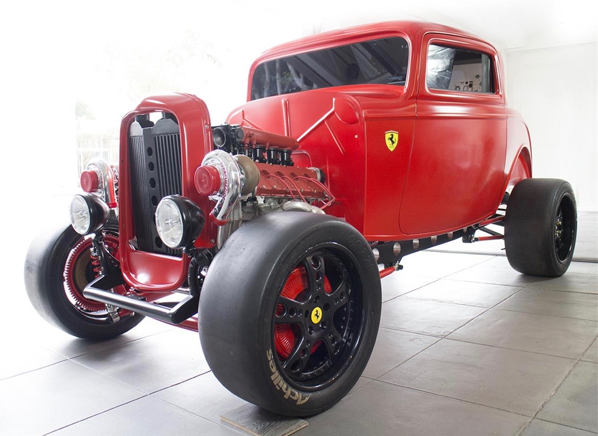 Twin-turbocharged, Ferrari-powered '32 Ford custom hot rod