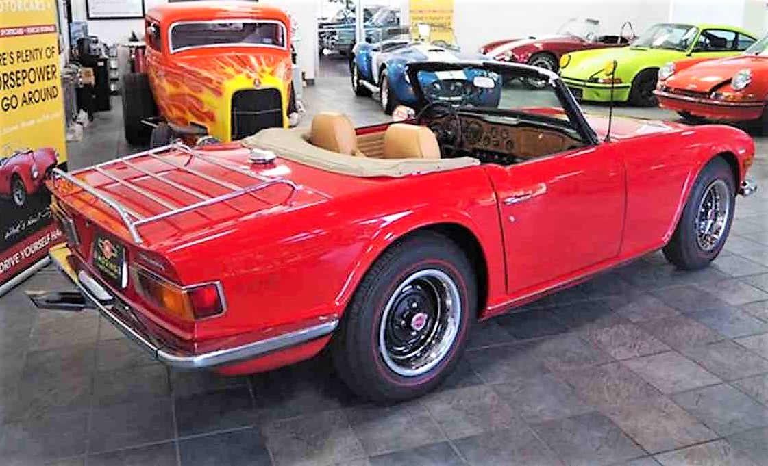 The TR6 received a bare-metal repaint