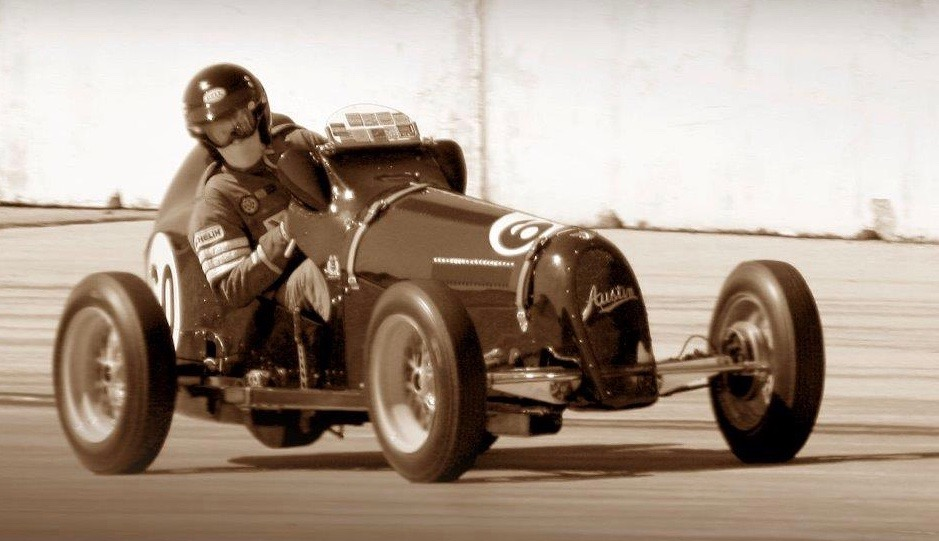 Cupp in his Austin 7 at Coronado Naval base races