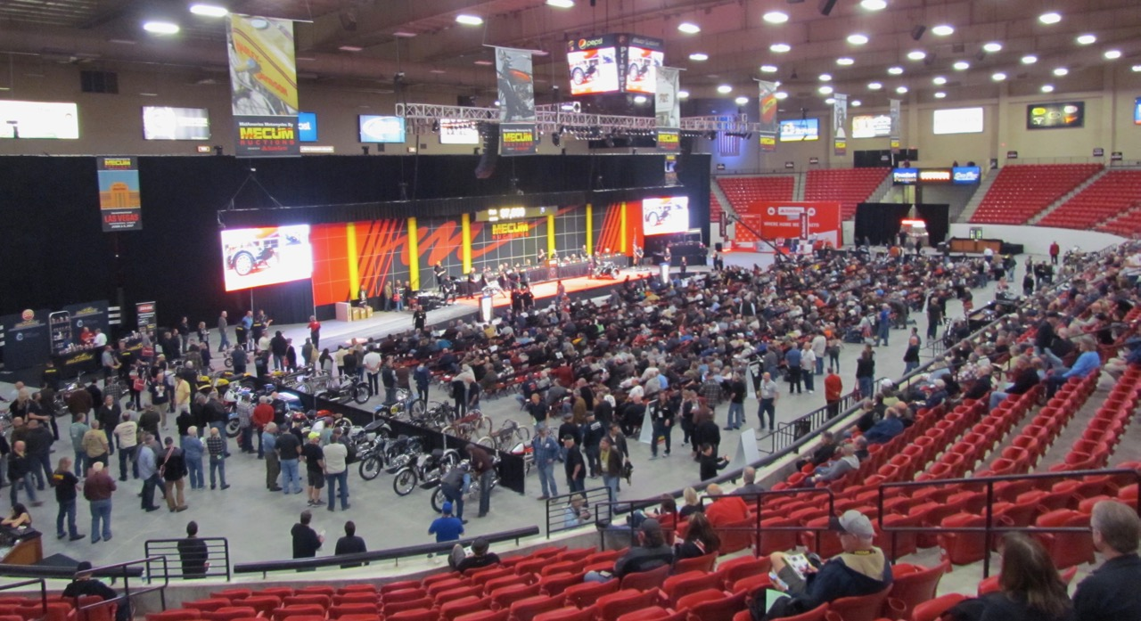 Sports-style arena was site of Mecum's sale of nearly 1,000 vintage motorcycles | Larry Edsall photos