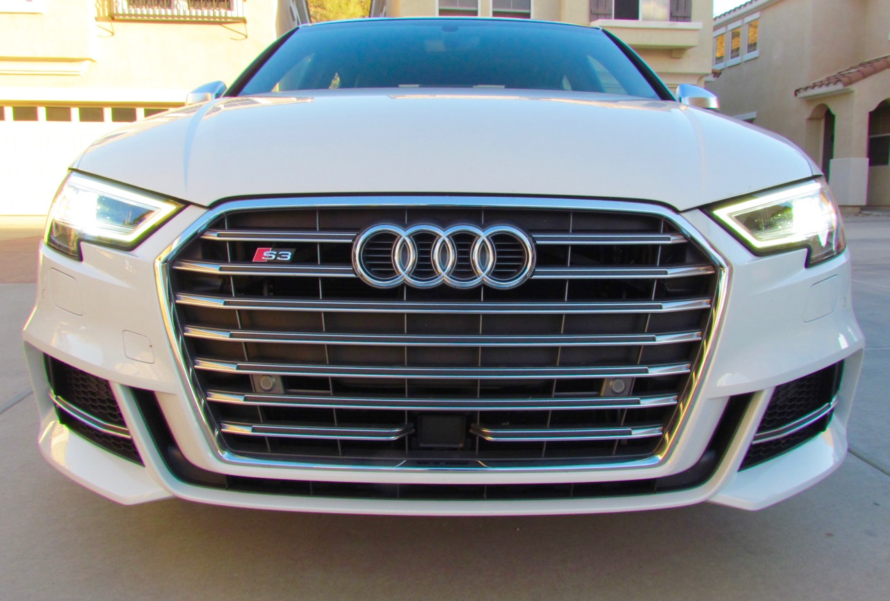 The grille dominates the car's front end