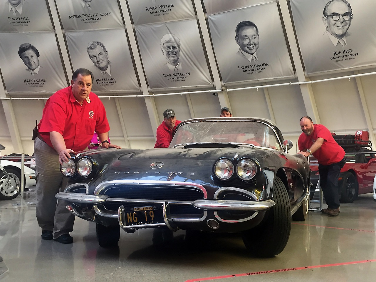 1962 Corvette is pushed from the Skydome to the garage where it will undergo restoration | Corvette museum photos