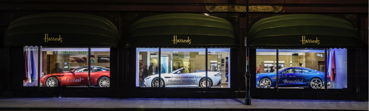 Aston Martins in the windows at Harrod's | Aston Martin photo