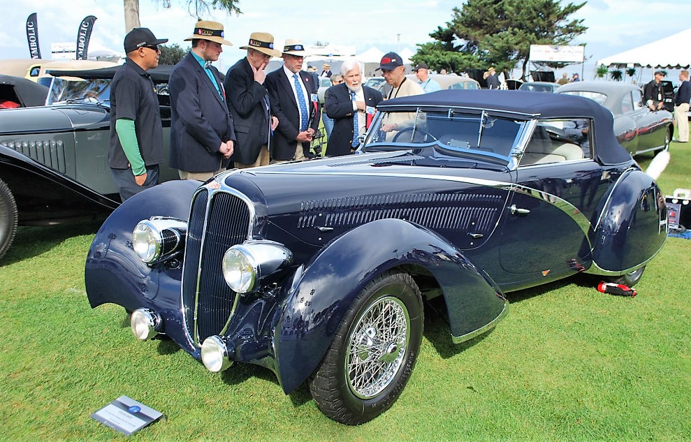 Judges at the La Jolla Concours consider the merits of a coachbuilt 1936 Delahaye, which won best of show last year | La Jolla Concours d'Elegance