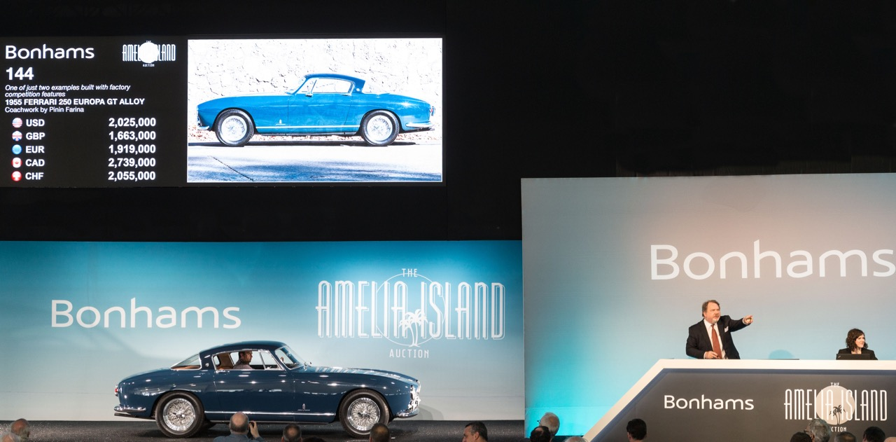 1955 Ferrari 250 GT Europa sells for $2,227,500 on Amelia Island | Bonhams photo