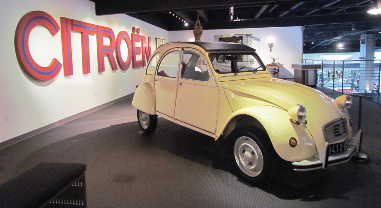 A 1991 Citroen 2CV6 is among the nearly four dozen cars from the French automaker on display at the Mullin museum | Larry Edsall photos